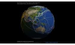 Подводная волоконно-оптическая кабельная сеть Земли, визуализированная в RStats с помощью rayrender.