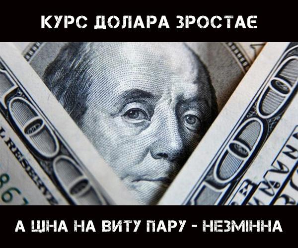 Курс долара зростає, а ціна на виту пару - незмінна!